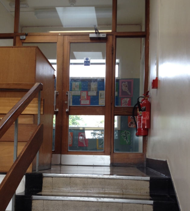 A fire door and some stairs